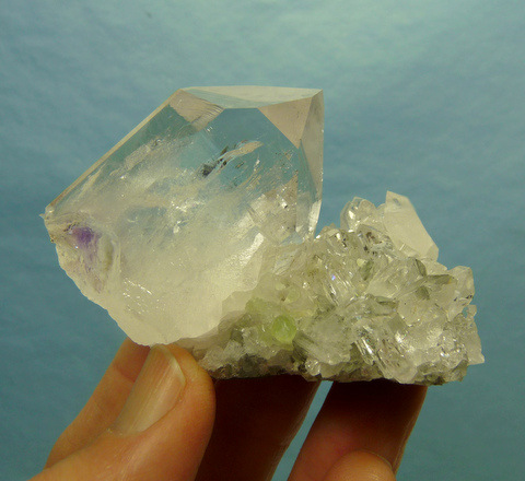 Quartz crystals on matrix, partly coated with gemmy epidote crystals