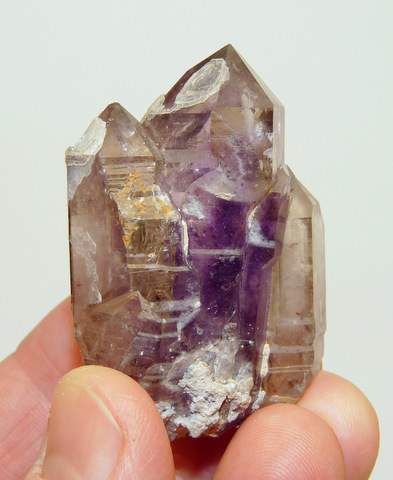 Amethyst / smoky quartz crystal specimen with (?)chalcedony