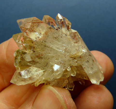 'Fancy' quartz crystal with light amethyst cloud and epidote inclusions