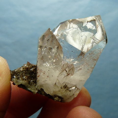 Stunning quartz crystal group with fascinating termination patterns