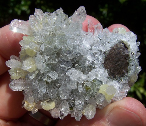 Cluster of Quartz, Prehnite, Analcime and Epidote Crystals on Basalt Matrix