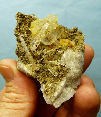 Interesting specimens of quartz and calcite on chalcedony