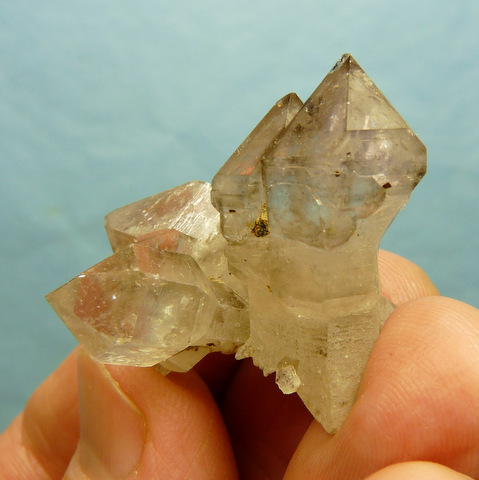 Light smoky quartz crystal group with sceptres