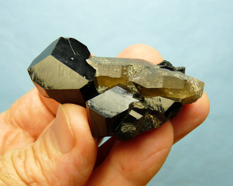 Interesting smoky quartz and schorl crystal group