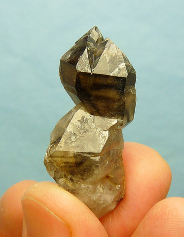 Smoky quartz crystal with interesting multi-terminated head
