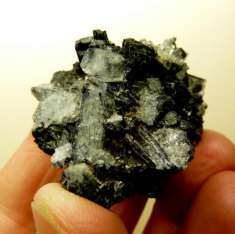 Schorl and pale blue aquamarine crystal group