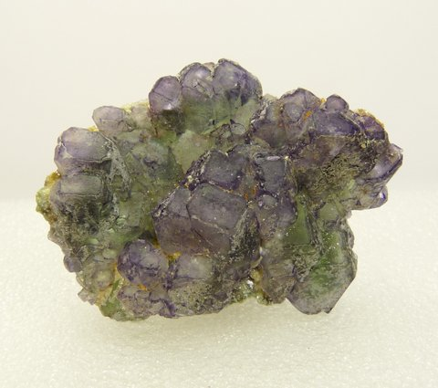 Fluorite crystal group with mica, schorl and hyalite opal