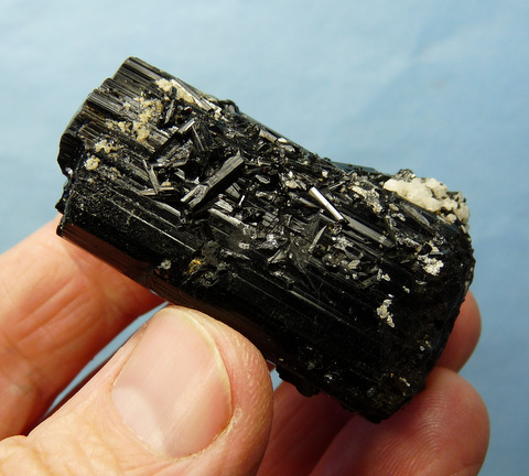 Schorl crystal (variety foitite) with minute schorl crystals on its surface
