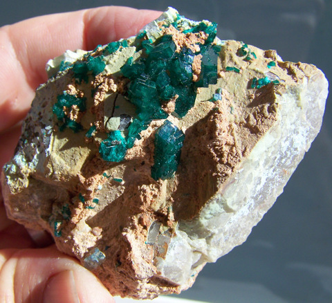Gem quality dioptase crystals on a matrix of quartz - Kaokoland