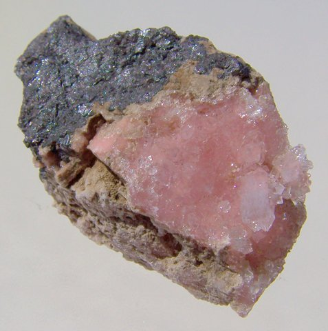 Very, VERY special specimen of quartz on rhodochrosite on matrix