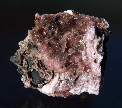 Gemmy, Sparkling Shigaite Crystals on Rhodochrosite and Manganite Matrix