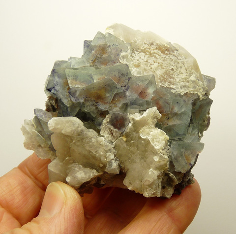 Light blueish fluorite crystals with quartz