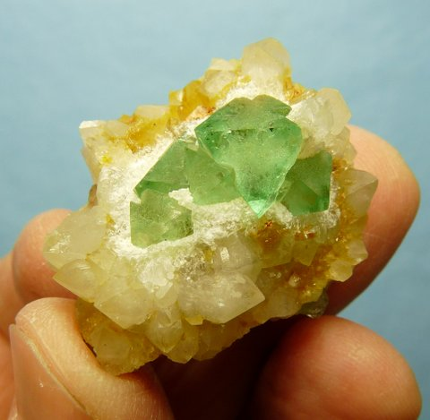 Gemmy, green fluorite crystals on quartz matrix