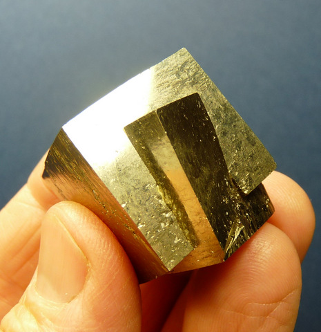 Two intergrown pyrite crystals from Spain