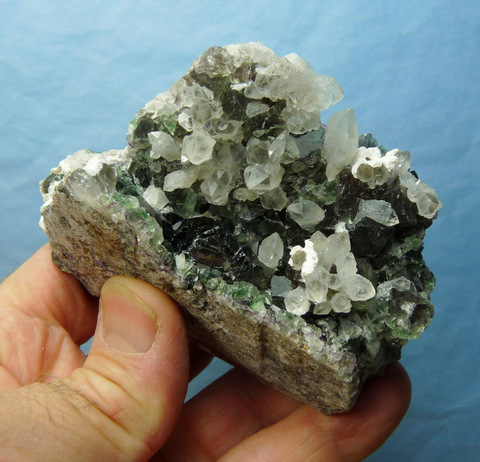 Quartz, fluorite and feldspar crystals on matrix