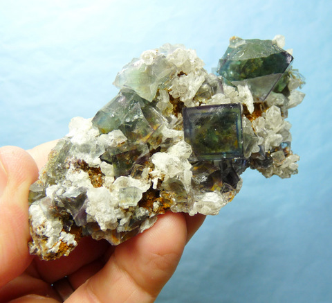 Fluorite and quartz crystals on matrix