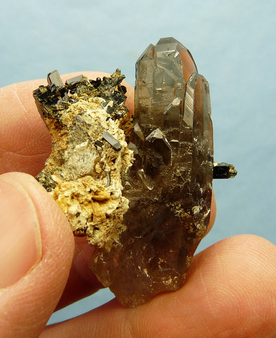 Smoky quartz with aegerine and feldspar