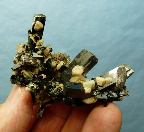 Beautiful cluster of aegirine, feldspar and zircon