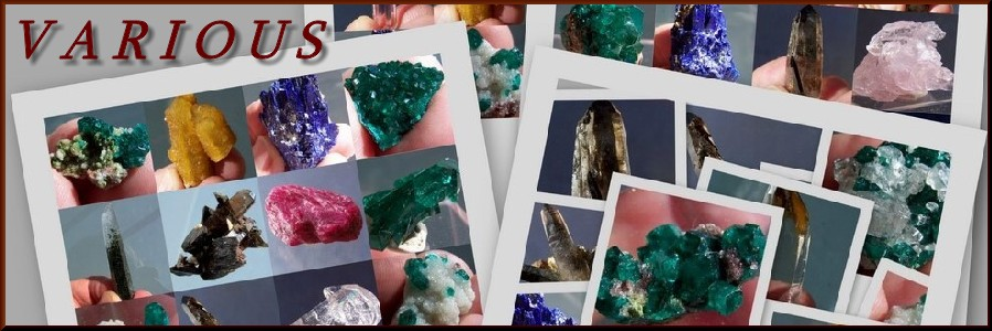 Mineral specimens and crystals variety worldwide localities
